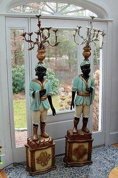 Blackamoor Italian antique pair carved wood figures