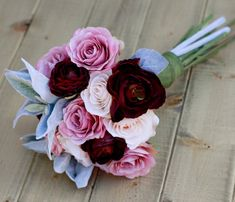 Silk Dusty Rose Blush and Plum Burgundy Ranunculus - Wedding Bouquet