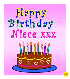 Happy Birthday Rose Cake WITH CARTOONS   Niece Birthday Cards *Free Family Birthday Cards* Musical eCards for ...