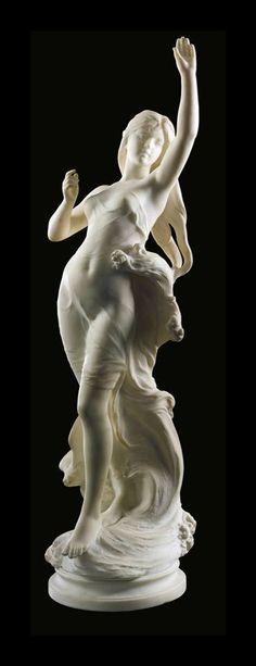 Hippolyte-François Moreau (Francia, 1832-1927) - Hebe, s/f. Mármol, 102 cm (colección privada)