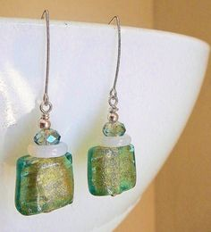 Peridot Glam Earrings  Genuine Murano Glass Opalite Rings