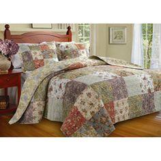 Blooming Prairie Queen-size Yellow Patchwork 3-piece Reversible Bedspread Set