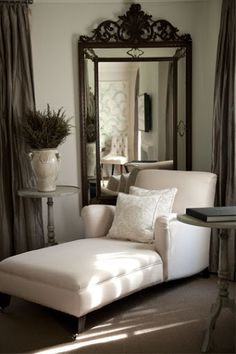 Love the corner chaise lounge - perfect place to snuggle up to a good book with a soft blanket. Perfect for a master bedroom sitting room