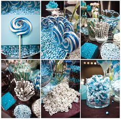 Candy bar for a Baby boy baby shower. Could easily be done with pink as well