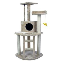 "HidingCatTree 48"" Scratch Post Kitty Pet House Play Furniture Sisal Pole and Ladder Stairs Cat Trees and Condos"