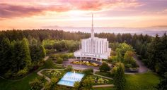 Seattle, Washington - LDS Temple (Aerial) by Alan Fullmer