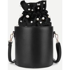 SheIn(sheinside) Faux Pearl Detail PU Bucket Bag (135 DKK) ❤ liked on Polyvore featuring bags, handbags, shoulder bags, black, pu purse, imitation purses, faux purses, imitation handbags and crossbody shoulder bag