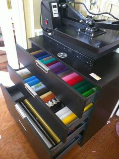 Vinyl storage, heat press table...Ikea