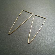 14K Gold Hoop Earrings Fangs Simple Modern by ModernChromatic