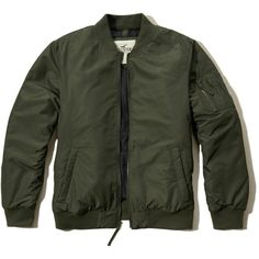 Hollister Lightweight Bomber Jacket (91 CAD) ❤ liked on Polyvore featuring men's fashion, men's clothing, men's outerwear, men's jackets, olive, mens olive green jacket, mens olive jacket, mens light weight jackets, mens olive bomber jacket and mens green military jacket