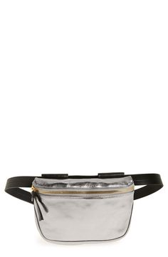 Shimmery metallic leather makes this roomy fanny pack a retro-chic statement piece.