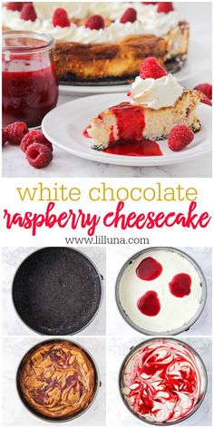White chocolate raspberry cheesecake with a rich Oreo crust, white chocolate cream cheese base, and tasty raspberry swirl. Just like Cheesecake Factory's recipe! #whitechocolateraspberrycheesecake #cheesecake #whitechocolate #raspberrycheesecake #cheesecakefactory Semi Homemade Cake Recipe, Homemade Cheesecake, Homemade Cakes, Oreo Cheesecake, Just Desserts, Delicious Desserts, Dessert Recipes, White Chocolate Raspberry Cheesecake, Chocolate Cream Cheese