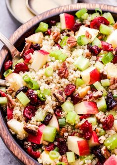 Cranberry Apple Quinoa Salad in wooden bowl with metal serving spoons Couscous Salad Recipes, Apple Salad Recipes, Healthy Salad Recipes, Whole Food Recipes, Kale Salad, Avocado Recipes, Rice Recipes, Sweet Recipes, Snack Recipes