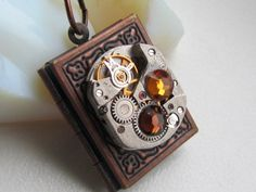Steampunk book locket necklace with vintage watch by Timewatch, $32.00
