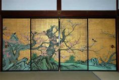 Shoheki-ga in Kobai-no-ma of Daikaku-ji Temple in Kyoto. Red-Plum -Blossoms room) of Shinden building. The original painting, an important cultural property, was painted by KANO Sanraku