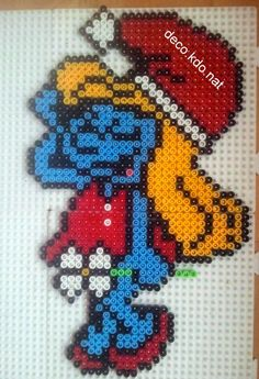 Christmas Smurfette hama perler beads by deco.kdo.nat