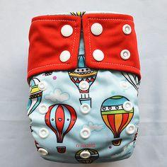 1 Newborn AIO Cloth Diaper Nappy Charcoal Insert Night Resuable,Hot Air Balloon