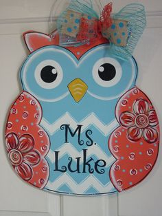 Large Wood OWL Door Hanger Blue Coral with Chevron & Flowers Angelenes Collection