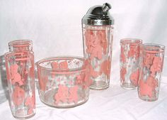 Hazel Atlas Pink Elephant barware set-This is the set that I covet
