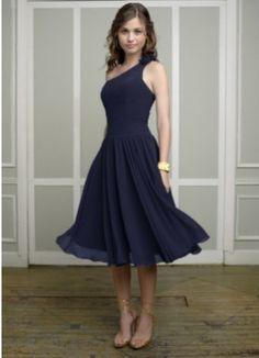 Navy Blue One Shoulder Tea Length Chiffon Bridesmaid Dresses HBD0024
