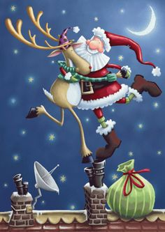 Santa and Rudolph having a merry time contemporary Christmas great tag Christmas Scenes, Noel Christmas, Christmas Music, Christmas Pictures, Christmas Graphics, Christmas Clipart, Christmas Printables, Illustration Noel, Christmas Illustration