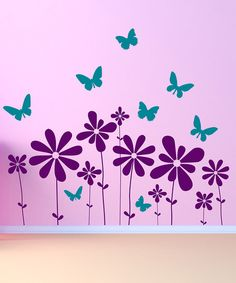 Take A Look At This Purple Teal Butterflies Flowers Scene Wall Decal Set By  DecorDesigns On Today!