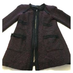 Nanette Lepore purple tweed jacket This is such a beautiful jacket. I have out grown it - it is slightly worn and has a slight seem tear on the left pocket. Still a fabulous piece. Nanette Lepore Jackets & Coats