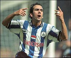 Paolo Di Canio celebrates his late winner for Wednesday in a victory over Barnsley in the FA Carling Premiership. Sheffield Wednesday Football, Ian Wright, Barnsley, Best Player, Football Fans, One Team, Fancy
