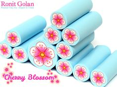 New cane - Cherry Blossom - polymer clay flower cane by Ronit Golan
