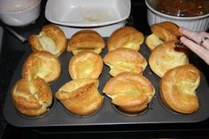 Daddy's Popovers - he made these for me because I didn't like biscuits.    - 6 eggs  - 1/2 cup water  - 1/2 cup milk  - 1/2 tsp salt  - 1 cup flour  - 1/4 cup vegetable oil    Whisk ingredients until smooth. Heat oven to 400. Spray a muffin tin with pam or wipe well with oil. Pour batter evenly among all 12 cups and bake for 30 min. or until golden brown. Do not open oven while baking, they will flop!