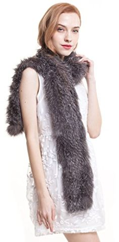 Vogueearth Women'Real Knit Fox Fur Winter Warmer Long Scarf Shawl silver Nature >>> Read more reviews of the product by visiting the link on the image.