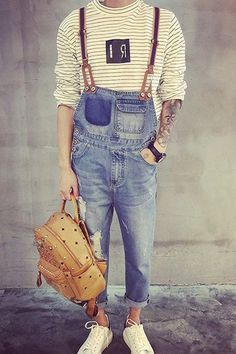 Trendy Slimming Holes Cat's Whisker Design Narrow Feet Denim Overalls For Men Denim Fashion, Fashion Outfits, Mens Overalls Fashion, Fashion 2016, Fashion Men, Old School Style, Style Masculin, Denim Look, Look Man