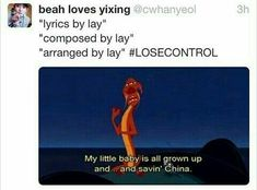 All grown up and saving China Yixing Lay EXO. Funny Kpop Memes, Exo Memes, Kpop Exo, Shinee, K Pop, Bts Got7, Exo Facts, Kdrama, Chanyeol Baekhyun