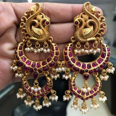 Traditional & Temple Peacock Shaped Chandbali Earrings(Screw Style) in Silver and Gold Polish with Pota Ruby Stones & Pearls - Indian Jewelry for Brides, Occasions - Wedding Jewelry Indian Jewelry Earrings, Ruby Earrings, Antique Earrings, India Jewelry, Temple Jewellery, Silver Earrings, Jewelery, Silver Jewelry, Antique Jewelry