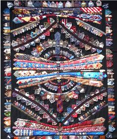 Tie quilt by Bette Haddon. She used whole ties along with tie tips, labels, and buttons, to create a highly textured surface (we counted over 200 buttons and labels). Necktie Quilt, Old Ties, Tie Crafts, Recycling, Quilt Making, Art Studios, Quilting Designs, Quilting Ideas, Fiber Art