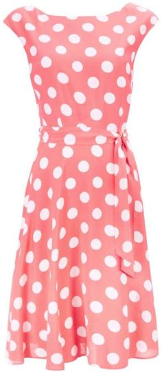 Coral Spot Fit and Flare Dress