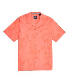 This Ciana Coral Tonal Palm Tree Pocket Button-Up is perfect! #zulilyfinds