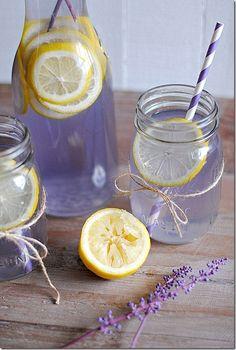 Lavender Lemonade 2 cups water 1/2 cup sugar 1/4 cup agave nectar (or honey) 3 Tbsp dried lavender 2 cups freshly squeezed lemon juice 4 cups water 1 lemon, sliced (for garnish)