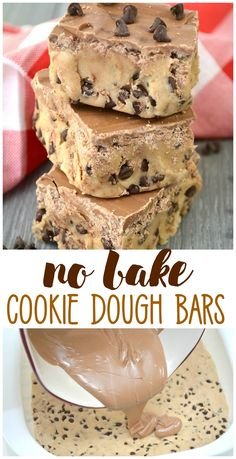 No Bake Cookie Dough Bars-easy dessert idea for kids or birthday parties. Recipe No Bake Cookie Dough Bars-easy dessert idea for kids or birthday parties. Mini Desserts, Easy Birthday Desserts, Easy Chocolate Desserts, Easy No Bake Desserts, No Bake Treats, Delicious Desserts, Birthday Parties, Chocolate Macaroons, Easy Kids Dessert Recipes