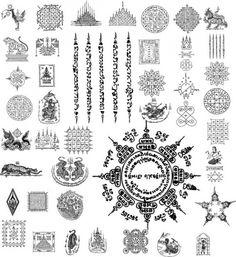 Paquete tailandia tatuaje ilustrador vectorial Vector Gratis
