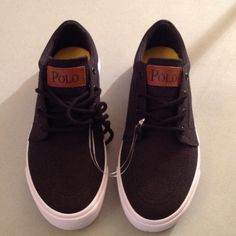 Polo Tennis Shoes US size 6 Skater Style Black with yellow emblem. NWOT Polo by Ralph Lauren Shoes Sneakers
