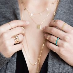 necklaces layering, rings stacking 14k gold #valejewelry