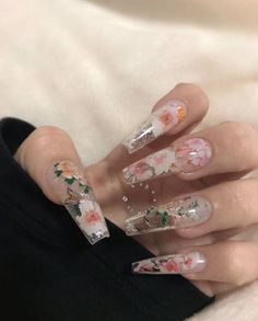 "using my coffin gel x extensions & my floral foils! use my code ""KAYNAILEDIT"" for some money off your… using my Aprés Nail coffin gel x extensions & my floral foils! use my code ""KAYNAILEDIT"" for some money off your… Perfect Nails, Gorgeous Nails, Pretty Nails, Clear Acrylic Nails, Summer Acrylic Nails, Acryl Nails, Aycrlic Nails, Coffin Nails, Jelly Nails"