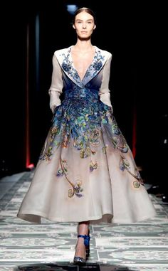 Lawrence Xu. Hand painted and embroidered gown.