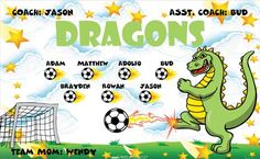 Dragons-41148 digitally printed vinyl soccer sports team banner. Made in the USA and shipped fast by BannersUSA. www.bannersusa.com