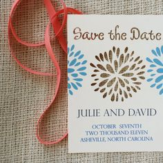 Die Cut Save the Date Card with Flower Blossom by sofiainvitations, $2.75