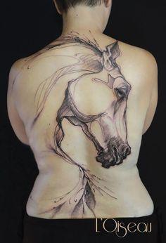 Epic horse tattoo L'Oiseau