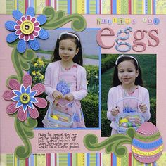 To embellish her scrapbook page about an Easter egg hunt, Valerie paper-pieced seasonal designs and accented them with stamped images. Editor's Tip: If you want a curved pattern on your Easter egg designs, turn to acrylic border stamps. Valerie gently bent acrylic stamps so the pattern curved to match her cardstock strips.