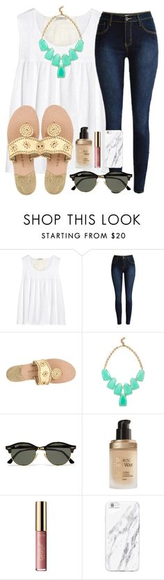 """""""s/o to @conleighh for second place!!"""" by madiweeksss ❤ liked on Polyvore featuring Clu, Jack Rogers, Kendra Scott, Ray-Ban, Too Faced Cosmetics and tarte"""