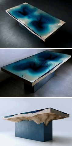 Stare into the deep blue darkness of the Abyss Dining Table Resin Furniture, Home Decor Furniture, Furniture Design, Wood Resin, Resin Art, Wood Projects, Woodworking Projects, Design Tisch, Ideas Hogar